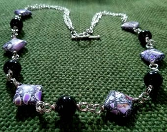 violet mosaic: hand wrapped glass & magnesite mosaic beads, silverplate copper wire, silvertone chain