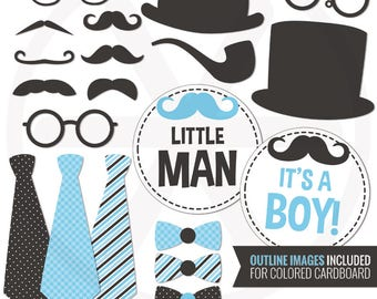 Little Man Photo Booth Props. DIY Blue Gentleman Photo Props. Printable Mustaches. Boy Baby Shower Photo Accessories. Outline PhotoBooth
