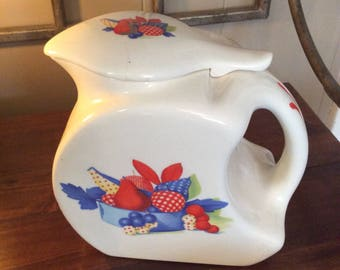 Universal Cambridge Pottery~Calico Fruit Pattern~Ceramic Pitcher With Lid~Transferware Pottery