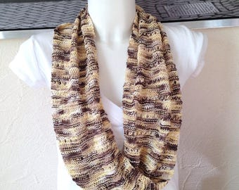 Snood infinity spring knit openwork brown-yellow-beige-white