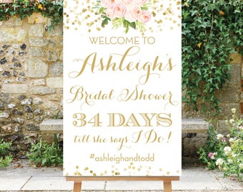Wedding Countdown Bridal Shower Welcome Sign Days Till She Says I Do Sign Printable Digital Sign Pink and Gold The Chloe