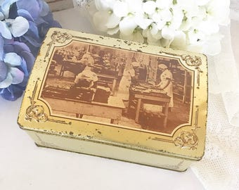Vintage Factory Scene Biscuit Tin Litho Box, Gold embossed candy confections metal box domed lid, kitchen storage canister box, decorative