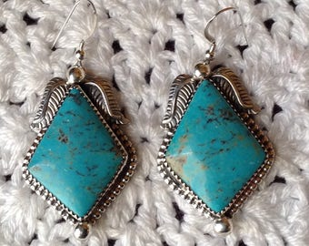 Blue Turquoise with Black Matrix Earrings