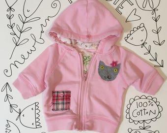 repurposed newborn pink hoodie