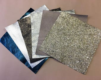 Metallic leather scraps FREE SHIPPING mix pre-cut leather pieces 5x5 or 10x10 inch lambskin metal leather samples 6 pack leather for crafts