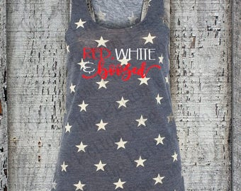 Red, White & Boozed Tank Top//4th of July Shirt//Fourth of July//Red White and Booze//American Flag//Patriotic//Red White and Blue//America