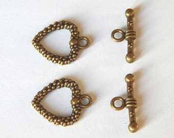 2 clasp sets bronze toggles in the shape of heart 19 * 16 mm