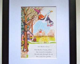Vintage Mother Goose Poem - Framed Children's Book Page - Nursery Decor - 1940's Children's Art - Vintage Book Illustration - Nursery Rhyme