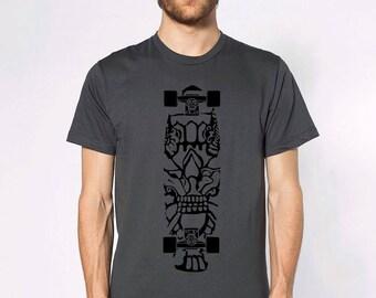 KillerBeeMoto: Skateboard With Mayan Design Print Short or Long Sleeve T-Shirt