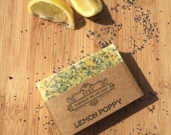 Handmade Organic Goat's milk soap. Lemon Poppy