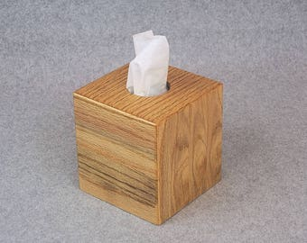 Tissue Box Cover - Wooden Handmade Tissue Box Cover - Constructed from Oak