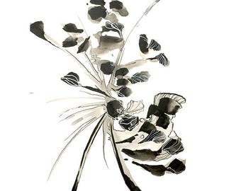 abstract flower print ;Black and White Ink drawing- abstract ,Contemporary abstract flower drawing, contemporary black and white ink drawing