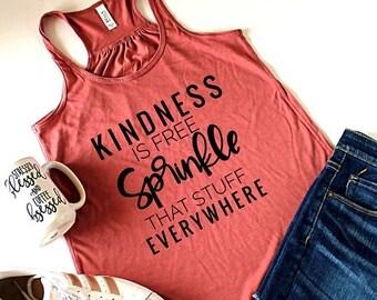 July Sale Ready to Ship, Kindness is free Racerback Tank Top, Flowy Tank Top, Mom Life Tank, Mom Tank Top, Mom Shirt, Anti Bullying, Kindnes