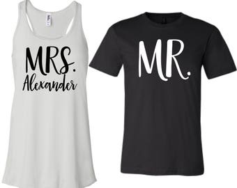Mr and Mrs Shirt Set, XS-2XL, Hubby Wifey Shirts, Wifey Hubby Shirts, Mr and Mrs Shirts, Newlywed Shirts, Just Married Shirts, Custom Mrs