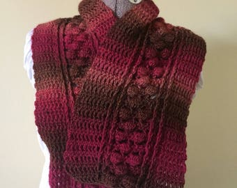 Crochet Scarf, Red Scarf, Brown Scarflet, Wooly, Shorter, Petite Length, Handmade Scarf, Warm Scarf