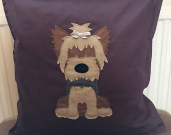 Little Yorkshire terrier (yorkie) - plum cotton canvas Cushion with a tail