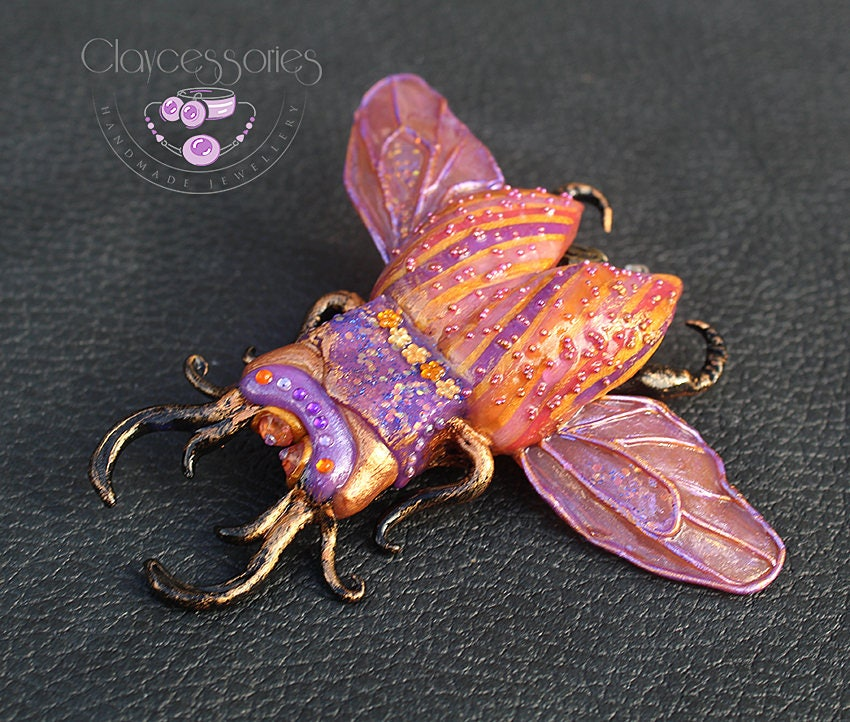 Beetle brooch / Insect brooch / Bug brooch  / Steampunk beetle  /Statement brooch  / Scarab brooch  / Polymer clay jewellery brooch