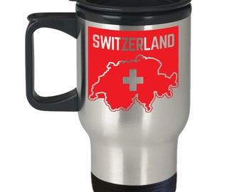 Switzerland Flag, Swiss Flag, Travel Mug, Swiss Pride, Stainless Steel