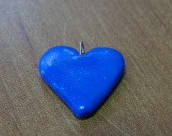 BLUE POLYMER CLAY HEART PENDANT
