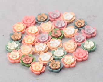 13mm Rose Resin Flower Cabochons / Mixed Lot Resin Flowers Supplies Wholesale SZ-003-4