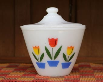 Fire King Tulip/Tulips Grease Jar with Lid ~ Oven Ware ~ Vintage Kitchen ~ 1940s