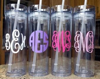 Monogram Tumbler - Monogram Cup - Clear Tumbler - 16 oz Skinny Tumbler - Personalized Monogram Mug - Initials Tumbler - Monogram Travel Mug