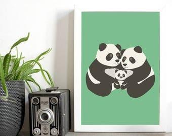 Nursery Wall art print - Loving panda family with baby - beautiful warm wall art new baby - cute panda