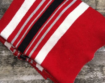 1950s Camp Blanket wool cotton blend stripe striped red black white gray four five point camping 50s midcentury 40s 1940s rustic cabin worn