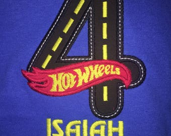 Hot Wheels Birthday Shirt Personalized with your Age 1-9