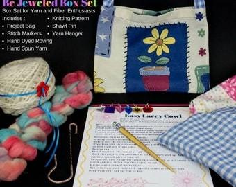 Be Jeweled Collaboration Box Gift Set, Yarn, Stitch Markers, Shawl Pin, Cowl Knitting Pattern, Roving, Project Bag, Unicorn Fibre Wash