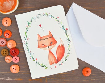 Greeting Card with fox - Illustrated card, fox and flowers