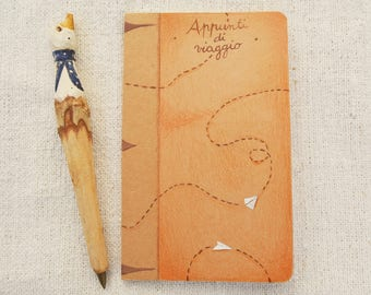 """Travel notebook """"Travel notes"""" hand painted, unique piece"""