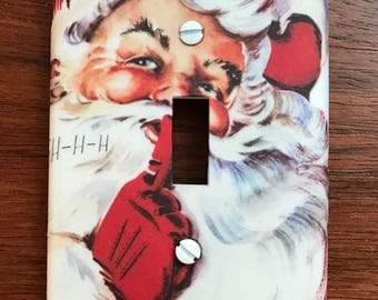 Santa Claus Light switch cover // nostalgic vintage old fashioned // SAME DAY SHIPPING**