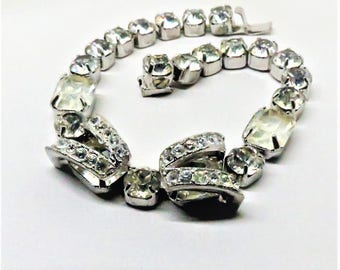 Rhinestone Bracelet - Vintage, Eisenberg Signed, Silver Tone, Clear Rhinestones