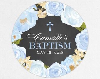 Baptism Favor Tag, Baptism Favor Label, Christening Favor Tag, Christening Labels, Chalkboard, Blue, Floral Baptism, Watercolor, Camilla