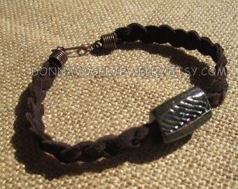 Ceramic Raku Bead and Braided Suede Bracelet