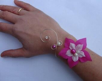 Bridal Bracelet silk flower ivoire fuchsia