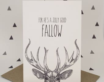Animal Greeting Card, Stag, Deer, Pun Humor Humour, Funny Card, Love and Friendship, Birthday Card, Alternative Cards, Little Dot Creations