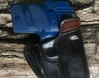 SIG P938 Custom Handmade Holster-Black and Moccasin Brown