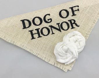 Dog of Honor Ivory with White Flowers Pet Wedding Bandana Engagement Photos Save the Date Cards