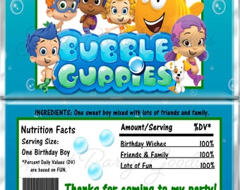 BUBBLE GUPPIES Birthday Chocolate Bar Wrappers - Bubble Guppies Party Candy Bar Wrap - Custom BUBBLE Guppies Candy Wraps
