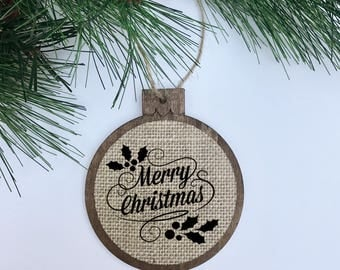 Merry Christmas / Mistletoe / Rustic / Christmas Ornament / Wood Burlap / Christmas Gift