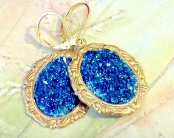 Sapphire Blue Druzy, Faux Druzy, Druzy Earrings, Handmade Druzy Earrings, Drusy Earrings, Druse Earrings, Faux Drusy Earrings, Blue Crystals