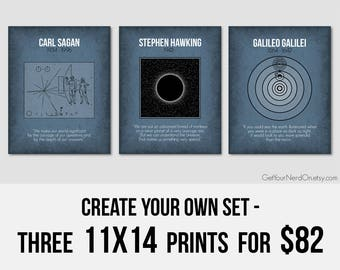 Create Your Own Set, Set of 3 Prints, 11x14 Art Print, Gifts for Teachers