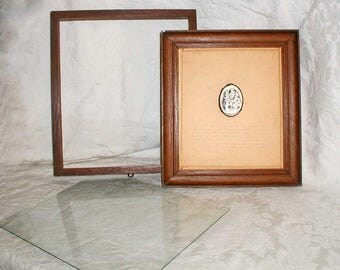 Catholic Shrine Shadow Box With Framed Meerschaum Reliquary From France of Notre Dame de Epines and Note From 1914