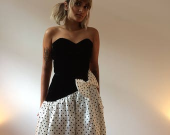 Gunne Sax 1980s Polka Dot Prom Party Dress