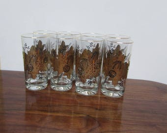 Gold Leaf Water Glasses Set of 8 Mid Century Glasses