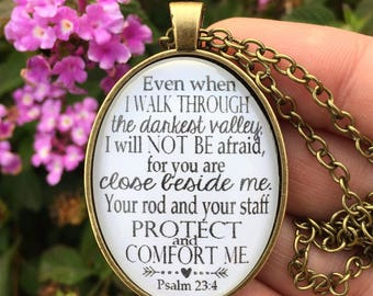 Psalm 23:4 Bible Verse Pendant Necklace
