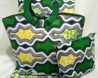 10% Discount use code BAGS10 -  PETIZ Mixed PVC African Wax Print Bag + Purse.