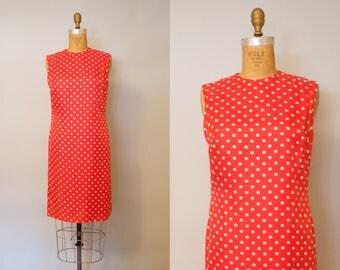 Dotty May 60s Dress / 1960s Shift Dress / 60s Dress / Red Polka Dot Dress
